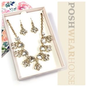 Jewelry - Crystal & Bronze Statement Earring & Necklace Set
